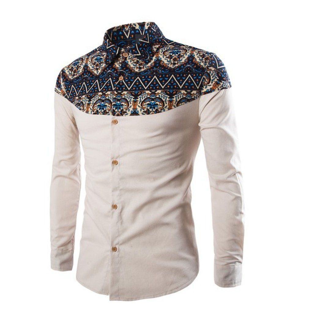 Mens National Printed Button Down Slim Fit Turn Down Collar Casual Dress Shirts