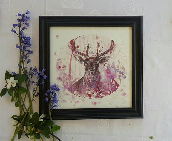 Check out this item in my Etsy shop https://www.etsy.com/listing/516987326/stag-head-deer-art-print-animal-art