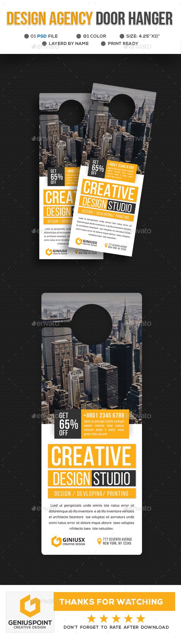 Design Agency Door Hanger | Design agency, Door hanger template and ...