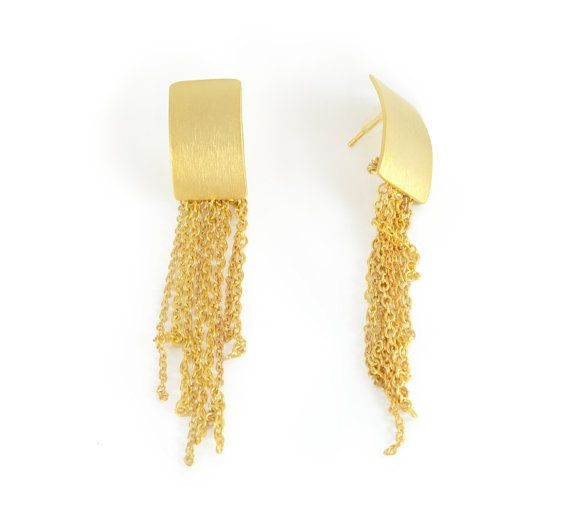 Unique Gold Earrings Tel Earring Rectangle Long