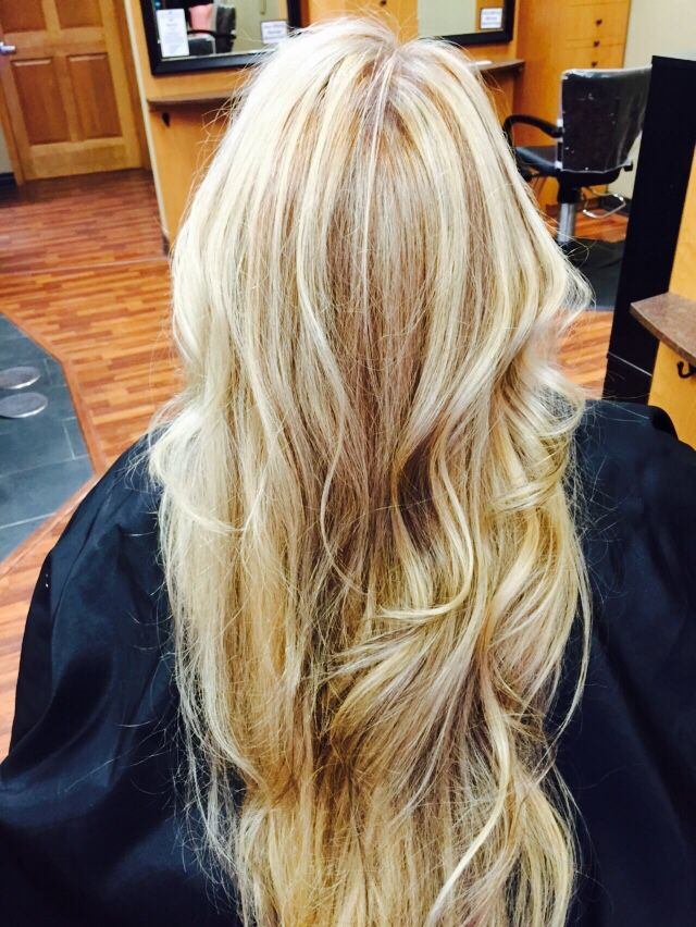 Golden Blonde Hair With Platinum Highlights And Caramel Lowlights