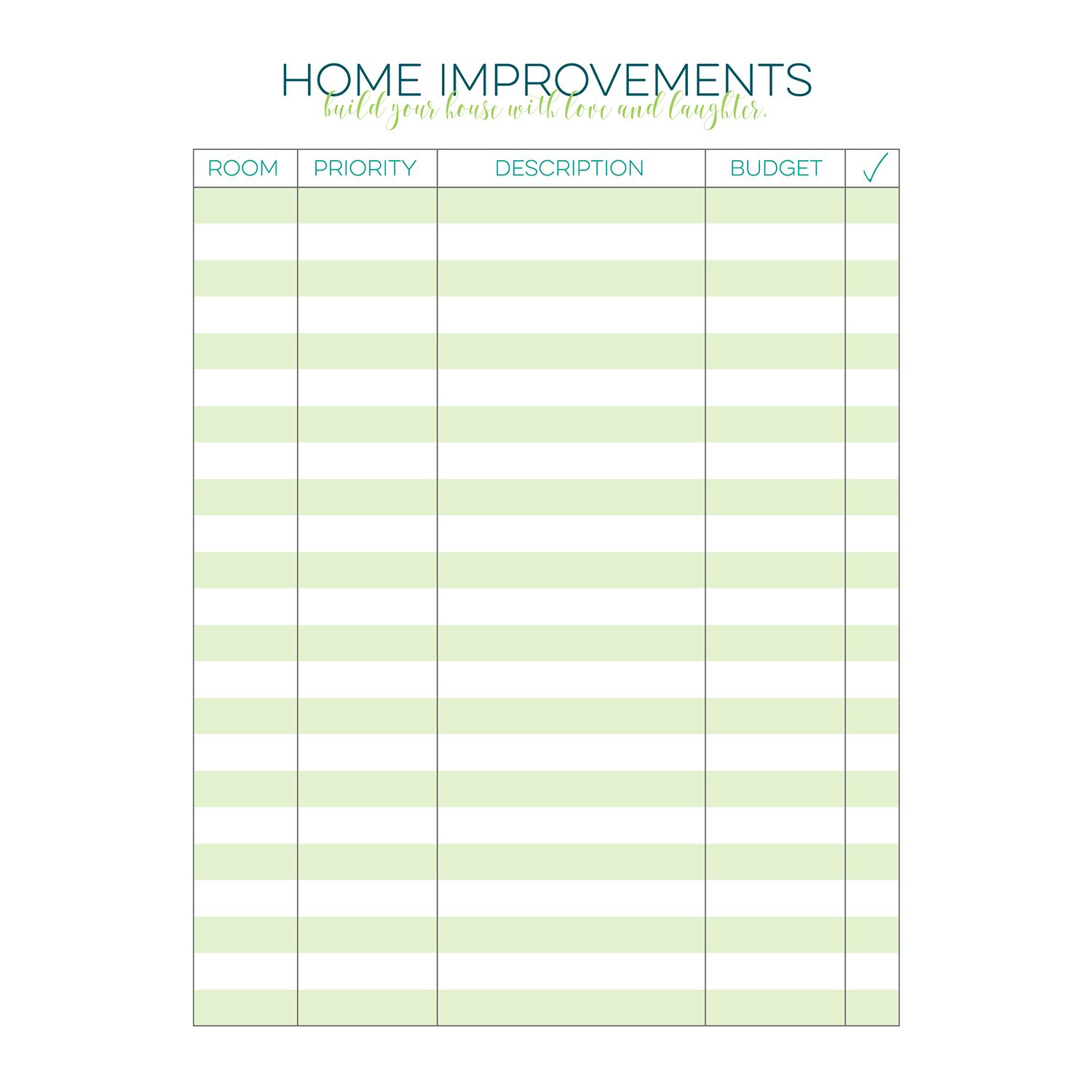 Home Improvement Checklist Free Printable