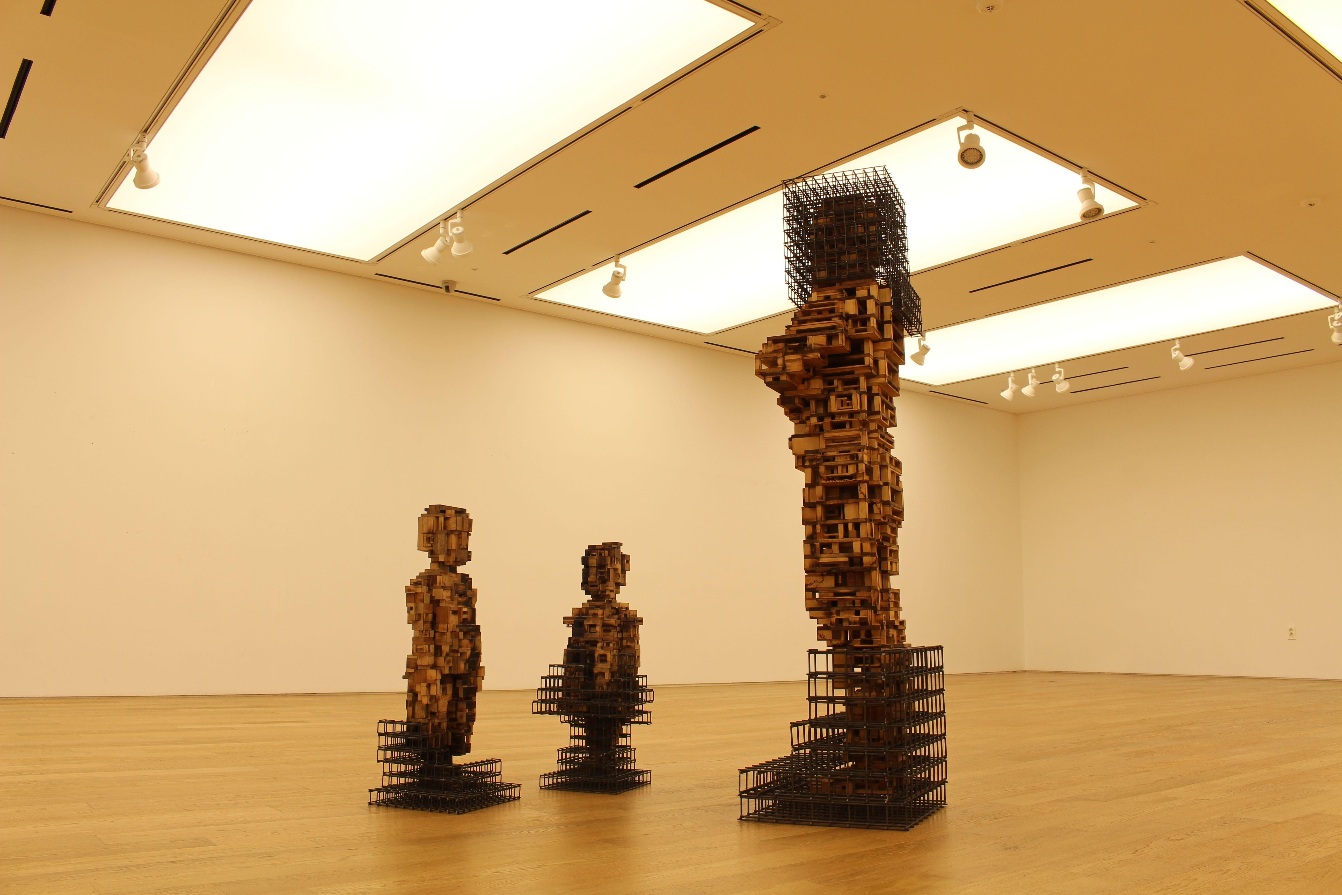 Build life #1_wood,mesh steel_100x100x170(cm)/sculpture,wood,architecture,contemporary art,installation