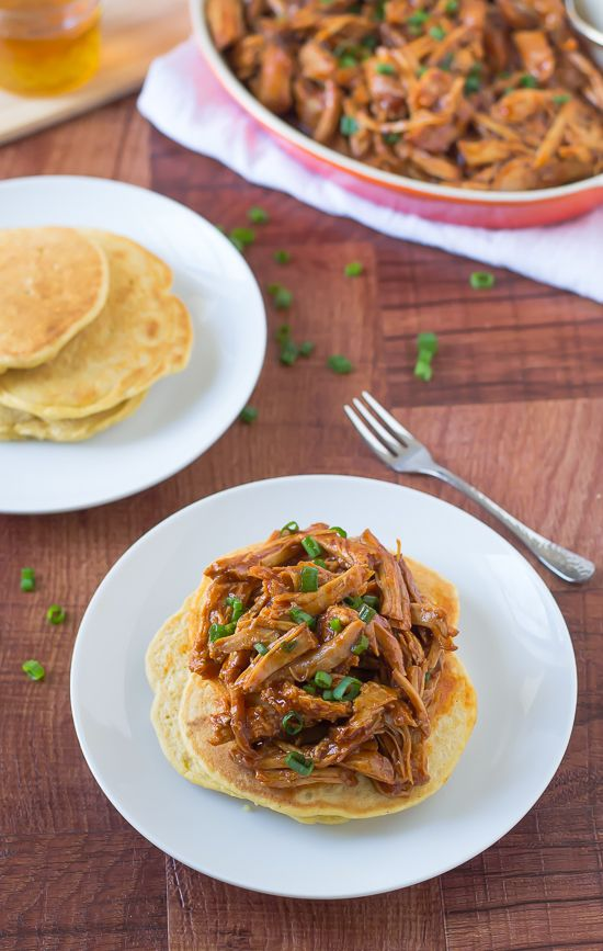 Slow Cooker Honey Pulled Pork Recipe over Cornmeal Pancakes | The Realistic Nutritionist