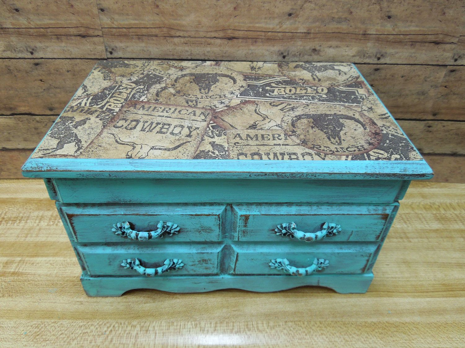 Wood Jewelry Box Distressed Painted Turquoise Cowgirl Western
