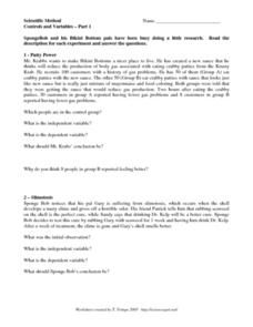 Controls And Variables 8th 12th Grade Worksheet Scientific Method Scientific Method Worksheet Variables
