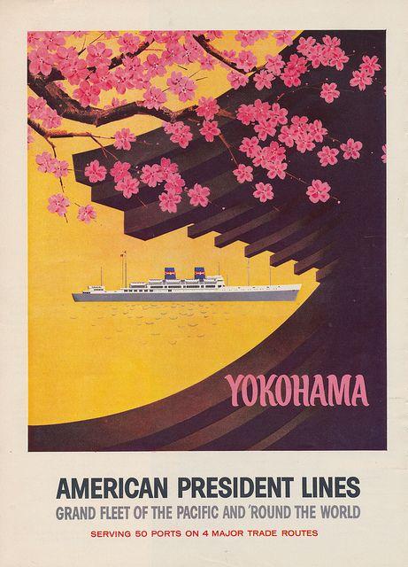 Yokohama Japan American President Lines Asia Asian Travel Advertisement Poster