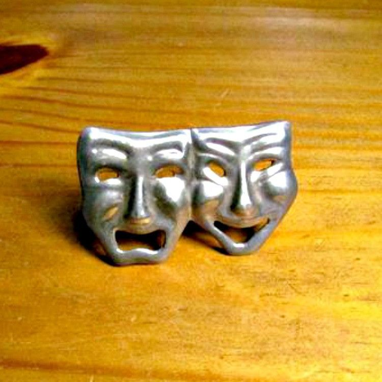 Vintage Comedy Tragedy Theatre Drama Mask Brooch Sterling Silver ...
