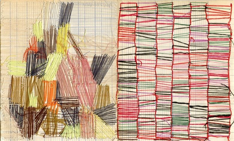 Untitled Thread Drawing By Sharon Etgar Textile Fiber Art Stitching On Paper Thread Painting