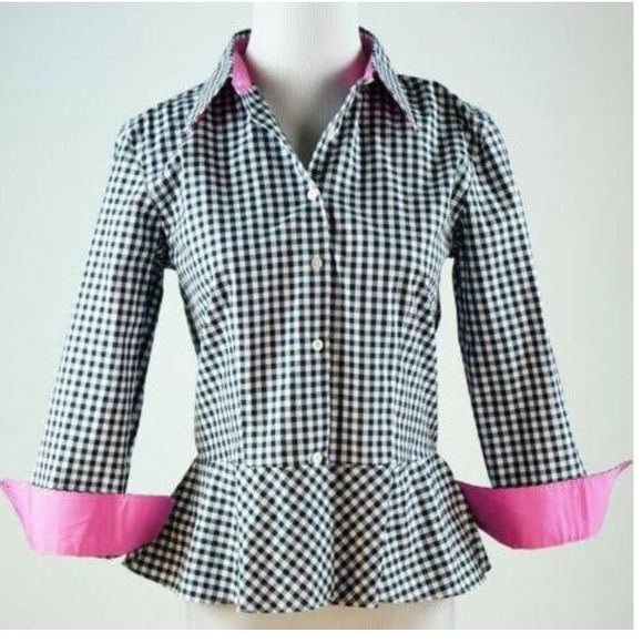 Ralph Lauren petit gingham peplum So cute! Perfect condition. Great for spring and summer. Love the pop of pink Ralph Lauren Tops Button Down Shirts