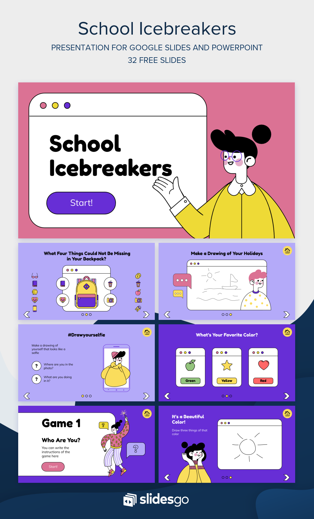 Go Back To School And Begin Your Classes With This Funny Icebreaker Google Slides Theme And Powerpoint Templat Desain Powerpoint Desain Presentasi Power Points