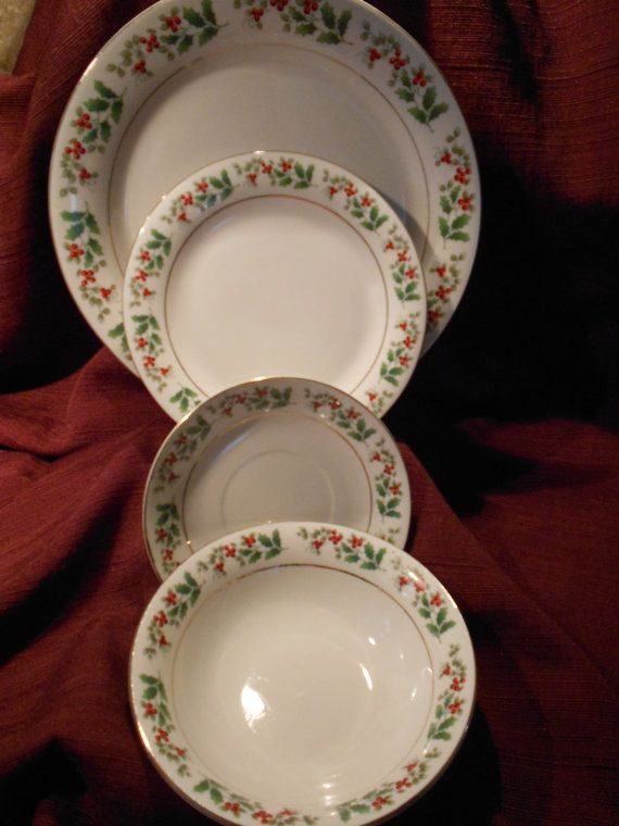 Holiday Christmas China Gibson Everyday China Holly Christmas Charm 16 pc Set Never Used & Holiday Christmas China Gibson Everyday by BarbaraAnnsCreations ...