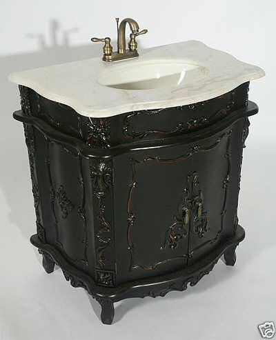 FRENCH CHATEAU ANTIQUE BLACK FURNITURE GREY MARBLE TOP SINK VANITY UNIT |  eBay - French Chateau Antique Black Furniture Grey Marble Top Sink Vanity