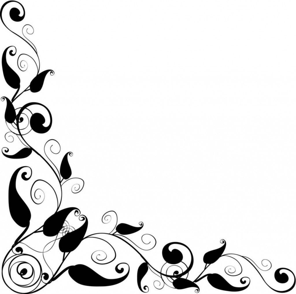 Black And White Flower Border Clipart - Floral Border Designs Clip Art Black  N White, HD Png Download - kindpng