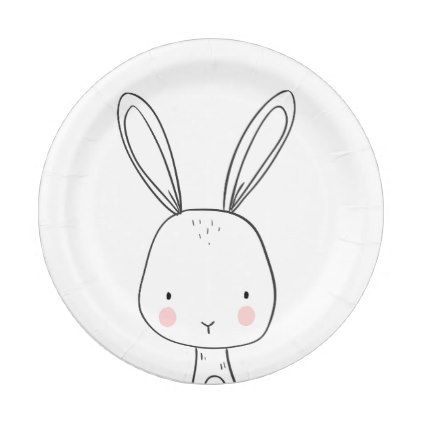 Bunny Paper Plates Baby shower Woodland animals - baby birthday sweet gift idea special customize personalize