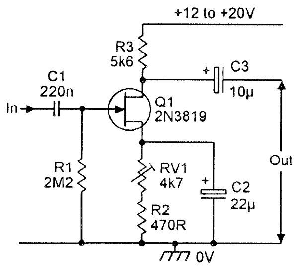 Simple Self Biasing Common Source Amplifier