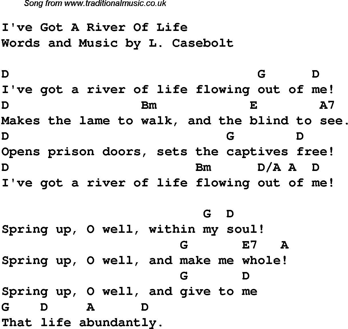 Worship Song Lyrics And Chords For Ive Got A River Of Life For