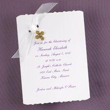 this simply scalloped christening invitation by carlson craft is a
