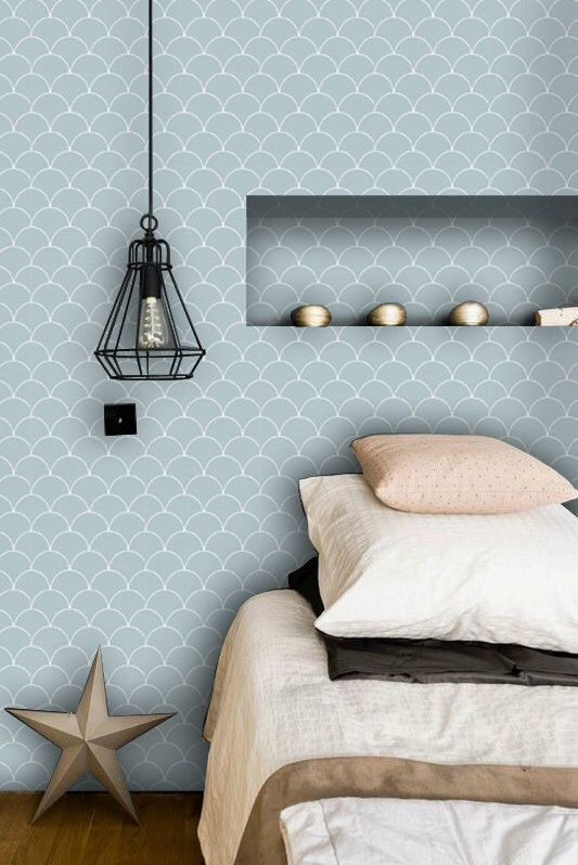 Scallop Pattern Wallpaper In Dove Grey Removable Vinyl L Stick No Glue