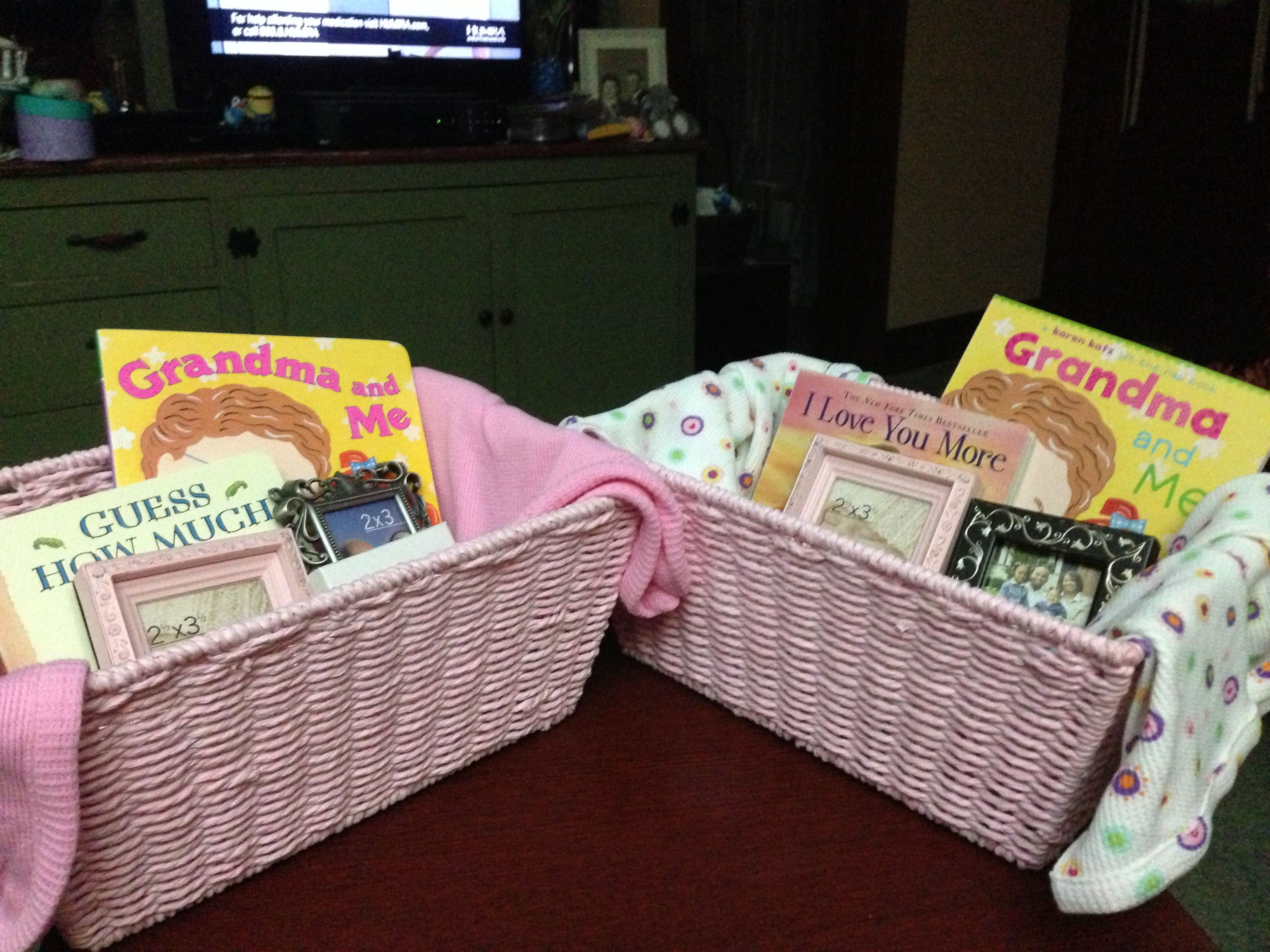 Grandmother baskets for a baby shower   Baby gift wrapping ...