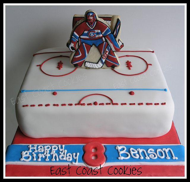 Goalie Hockey Cake With Decorated Cookies A Hockey Birthday