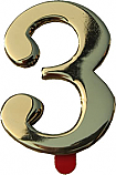 Two Inch Solid Brass Mailbox Number 3 by Better Box Mailboxes