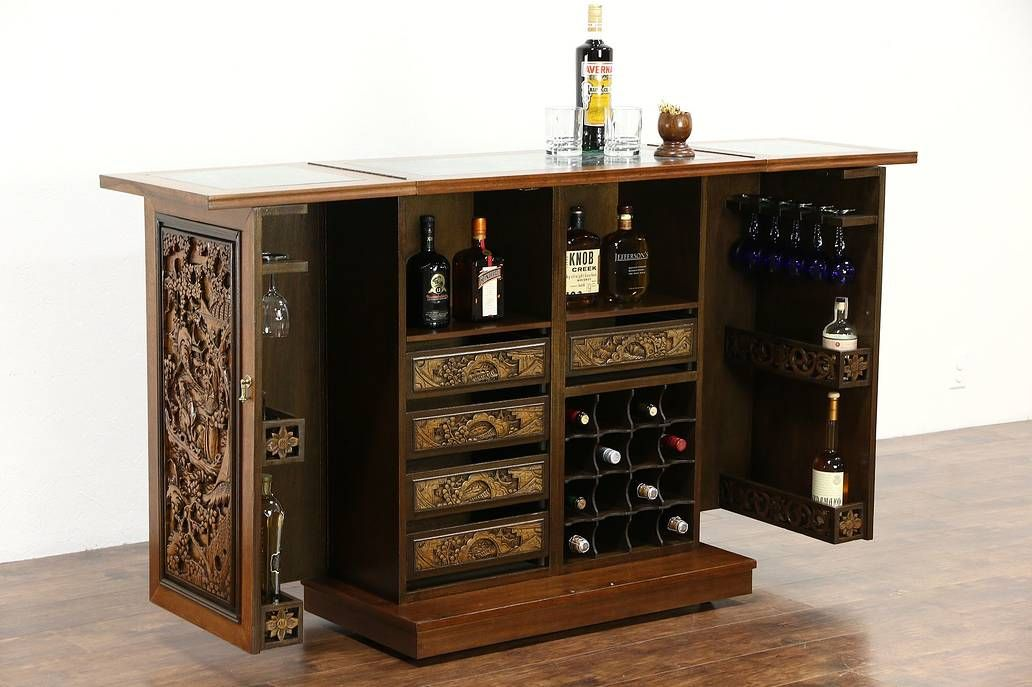 Chinese Teak Marble Carved Vintage Bar Cabinet Folding Top Swing Out Sides In 2020 Chinese Bar Bar Cabinet Vintage Bar