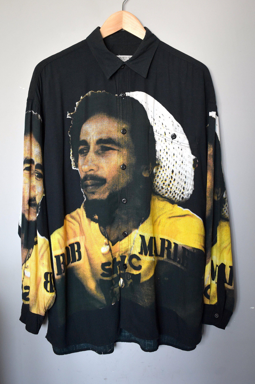 Vintage 90 S Bob Marley Print Black Shirt Oversized Button Up Unisex Print Shirt Grunge Button Down Top Hipster Boho Hippie Shirt Bob Marley Print Black Shirt Hippie Shirt [ 3000 x 1995 Pixel ]