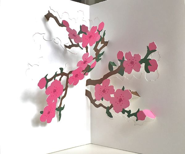 Cherry Blossoms Pop Up Valentine Cards Pop Up Card Templates