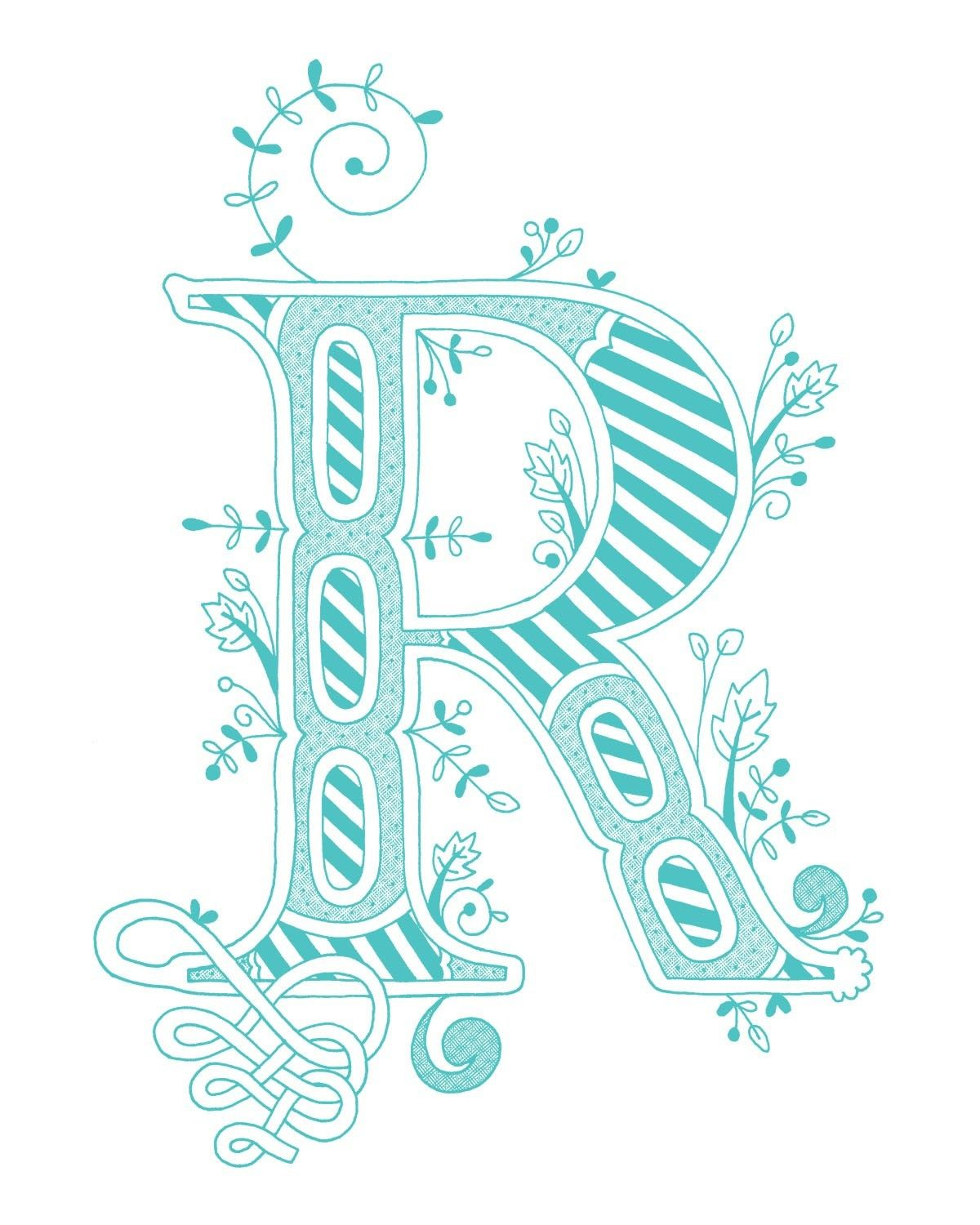 Hand Drawn Monogrammed Print 8x10 The Letter R In By Jenskelley 1500