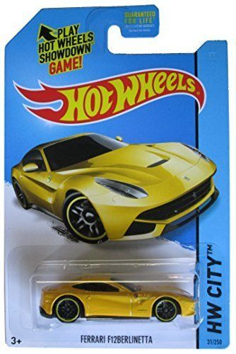 Hot Wheels 2014 Hw City Ferrari F12 Berlinetta Yellow 31 250 By Mattel 1 64 Ferrari Ferrari F12 Hot Wheels