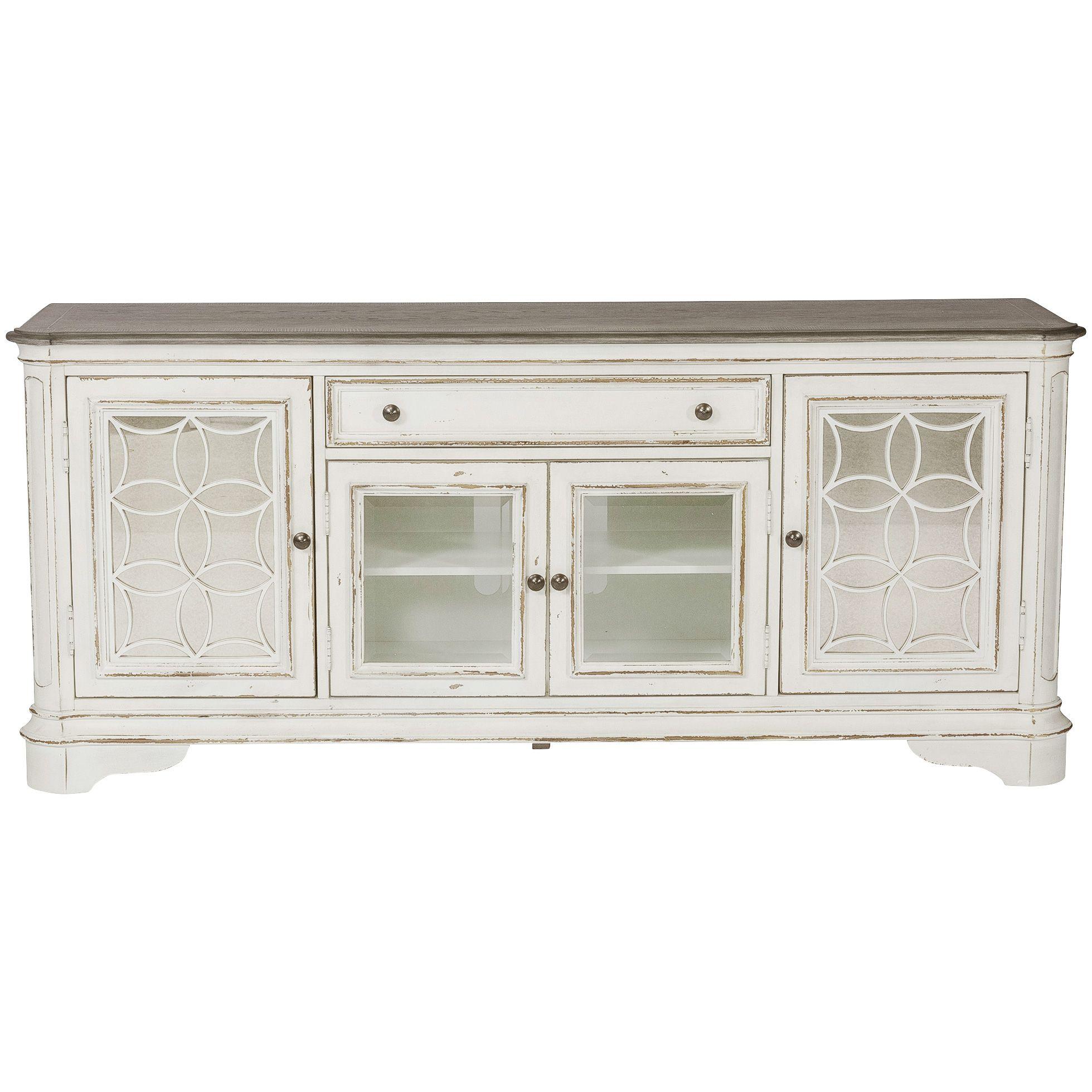 Liberty Furniture Magnolia Manor Antique White Tv Console Table In 2021 Liberty Furniture Tv Console Table Tv Console