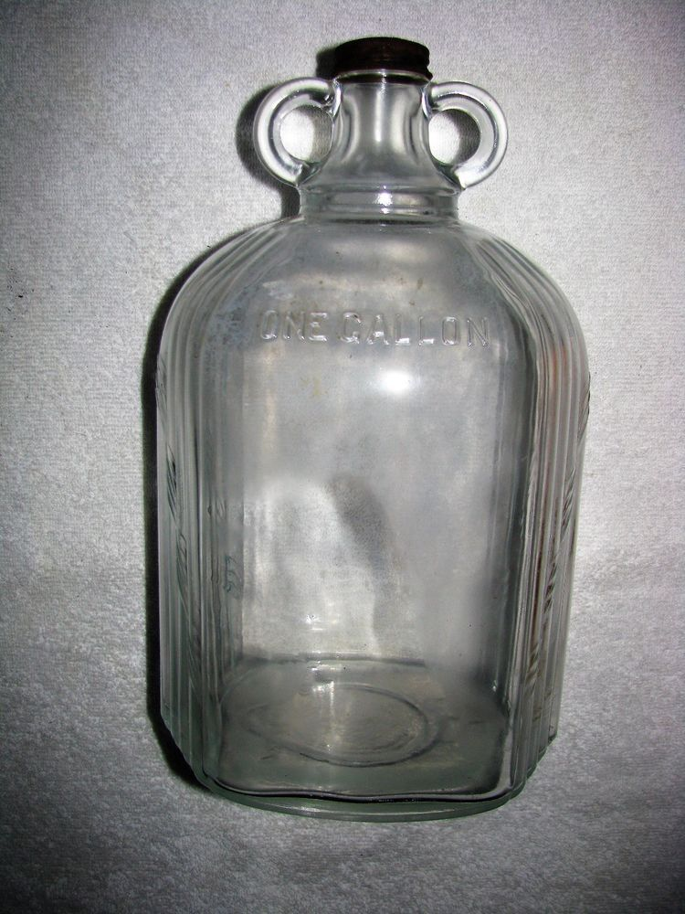 Vintage One Gallon Two Handle Clear Glass Jug Bottle Glass Jug Clear Glass Jugs