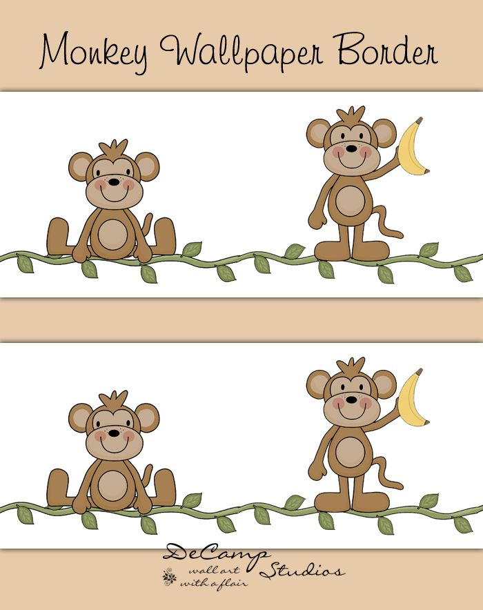 Safari monkey wallpaper border wall art decals for baby boy jungle nursery decor. Monkeys balancing on a vine. One sitting and one standing while enjoying a banana. This border repeats itself every two monkeys #decampstudios