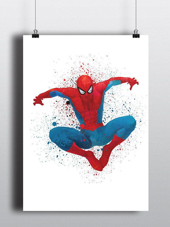Spiderman Geinspireerd Minimalistische Art Poster Print Aquarel Instant Digitale Download Groot Form Spiderman Painting Superhero Wall Art Marvel Paintings