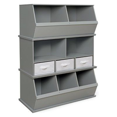 Badger Basket Three Bin Stackable Storage Cubby Gray In 2020 With