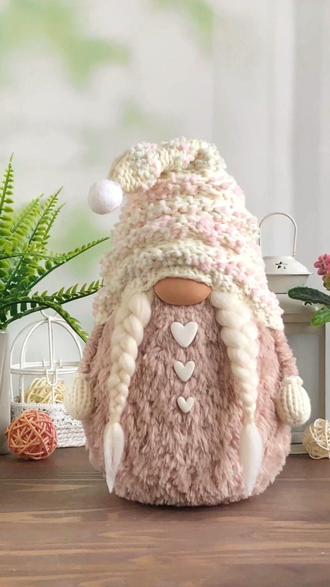 Pink Stuffed Gnome with heart, Summer gnome decor, Home gnome decor