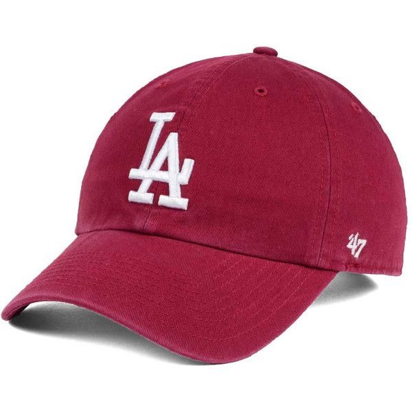 best website e6b7b 24223 Los Angeles Dodgers  47 MLB Cardinal and White  47 CLEAN UP Cap (99 ILS) ❤  liked on Polyvore featuring accessories, hats, crown cap, crown hat, logo  hats, ...