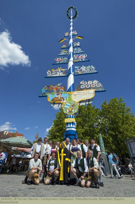 Maibaum Viktualienmarkt Munchen Bayern Deutschland Maibaum Baum Munchen