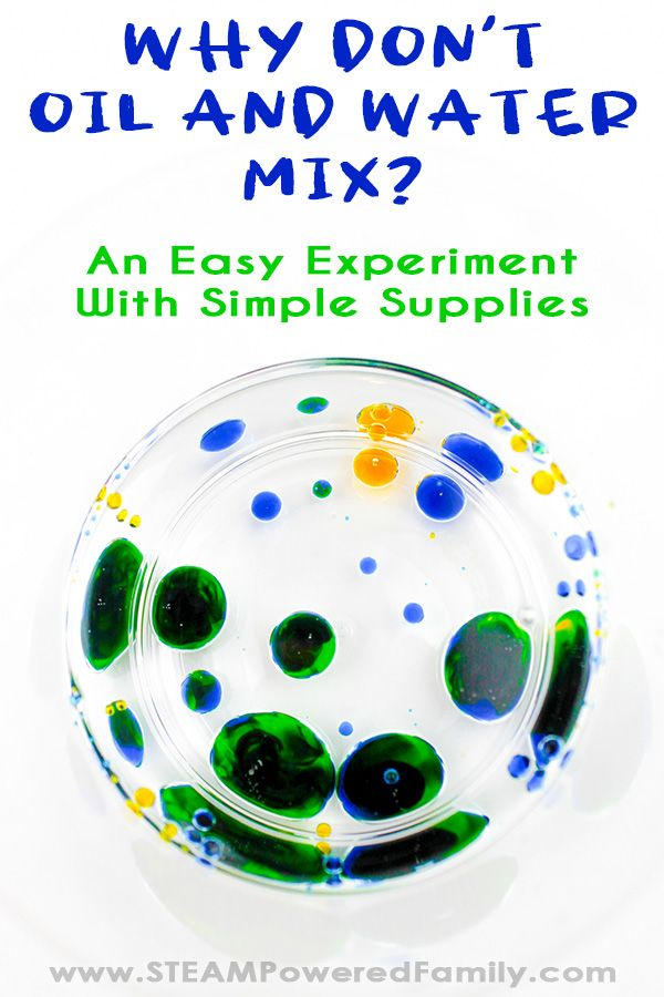 Why don't oil and water mix? Learn why in this easy experiment using simple supplies. Explore how oil and water behaves plus the magic of colour mixing gives this experiment a special twist. Plus the colour mixing provides greater understanding of the polarity differences between water and oil and how it affects their behaviour when they are mixed. Also includes links to more experiments to dig deeper into this science. #OilandWater #Science #WaterExperiment #Experiment #Elementary
