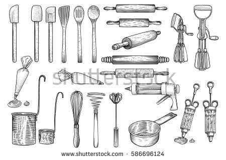 Kitchen Tool Utensil Vector Drawing Engraving