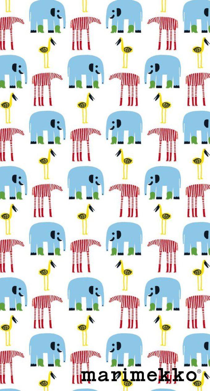 マリメッコ ゾウ シマウマ 鳥 Marimekko Wallpaper Kids Room Wallpaper Marimekko