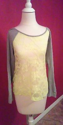 Womens gray and neon yellow sheer lace casual baseball long sleeve shirt size L