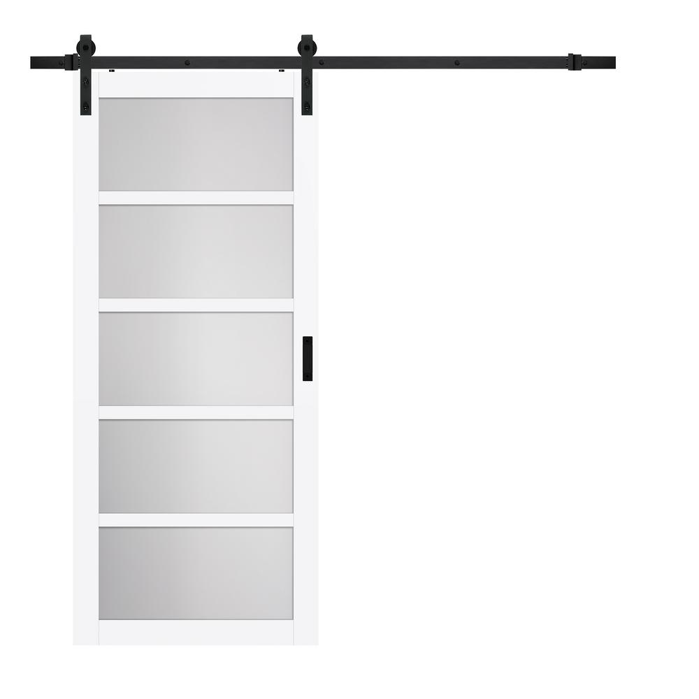 Truporte 36 In X 84 In Bright White Mdf Frosted Glass 5 Lite Rustic Sliding Barn Door With Hardware Kit Bd062w01bw5tge36084 The Home Depot In 2020 Glass Barn Doors Barn Doors Sliding Rustic Barn Door