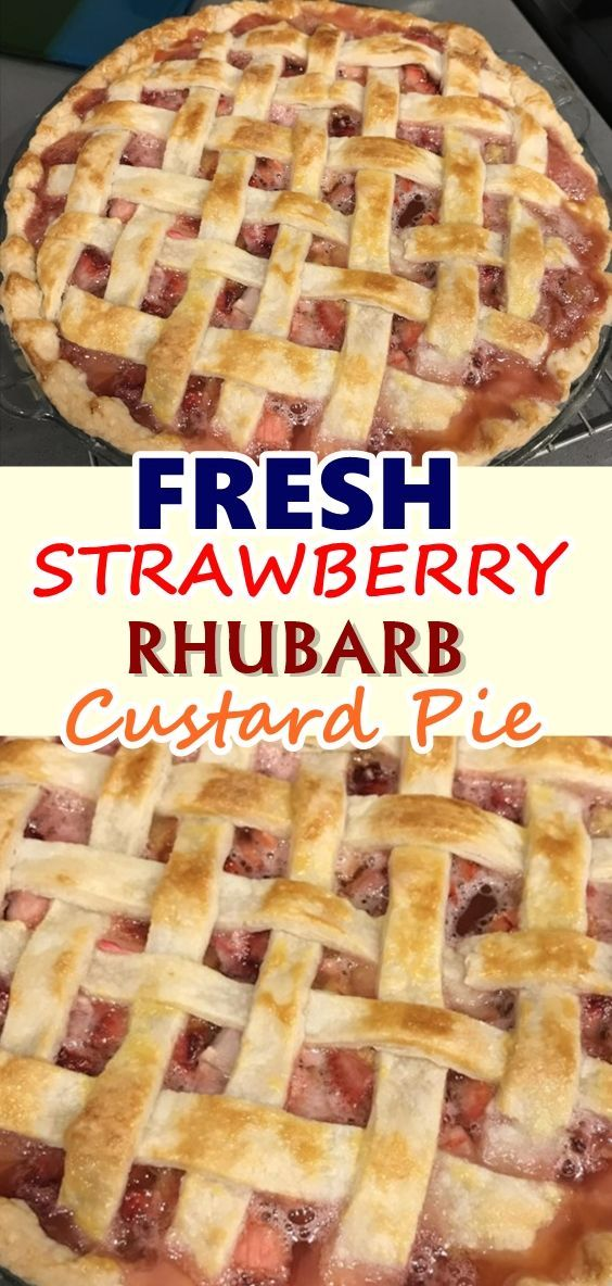 Sweet strawberries tart rhubarb and creamy custard pair perfectly in this delici…
