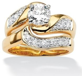 Ultimate CZ 14k Gold-plated Swirled Wedding Ring Set | Overstock.com Shopping - Big Discounts on Palm Beach Jewelry Cubic Zircon