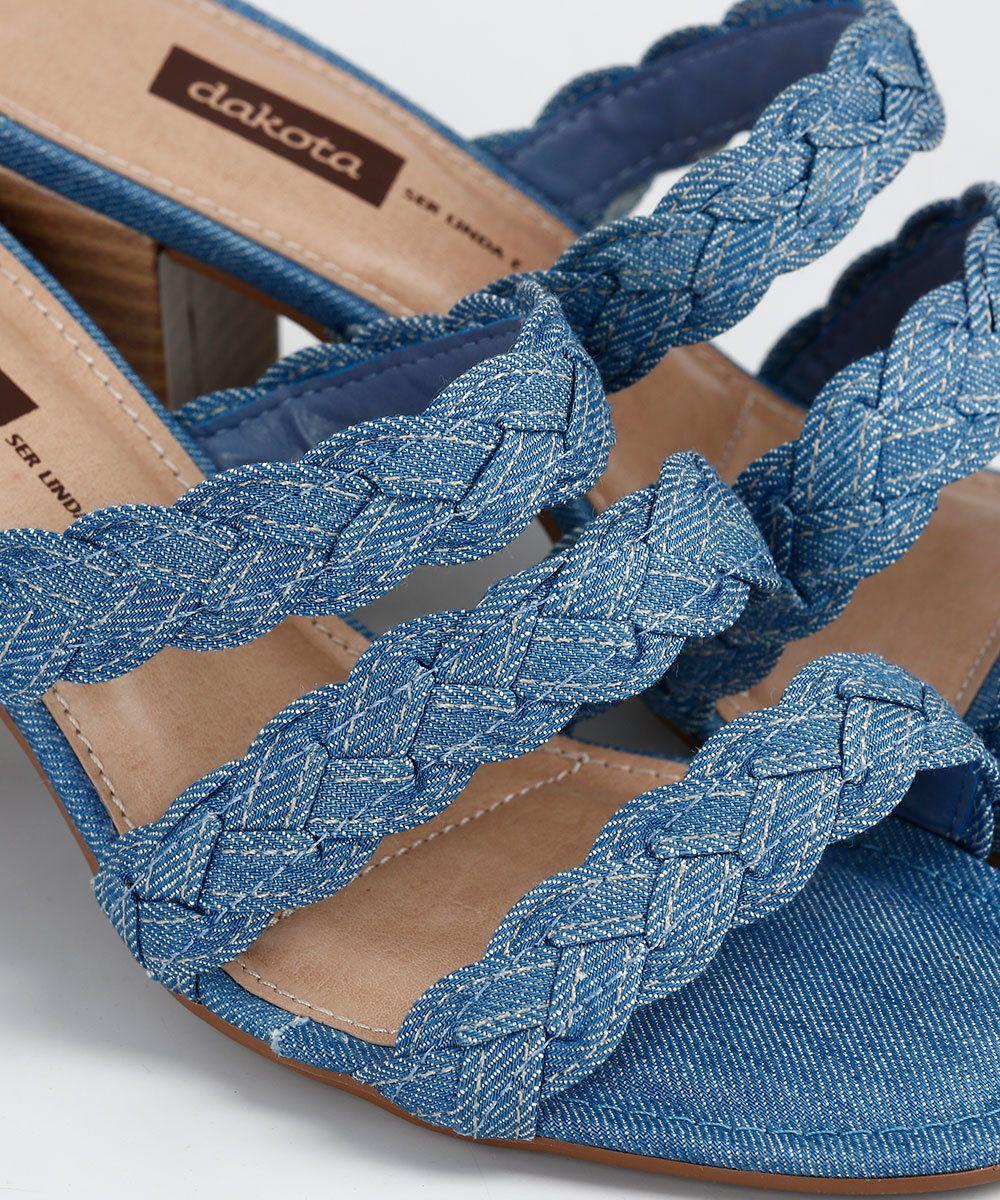 d8c62ec2f2 Tamanco Feminino Jeans Tressê Dakota Z2882