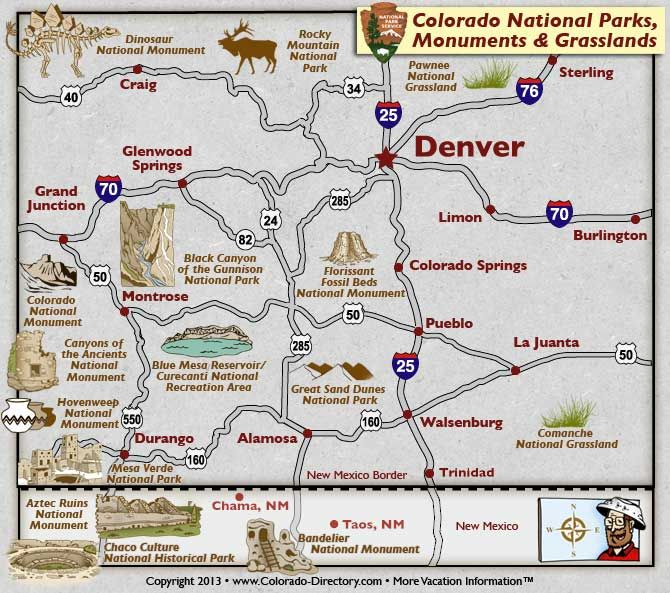 Colorado National Parks, Landmarks, Monuments, Map, CO ...