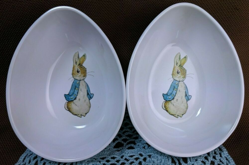 2017 Peter Rabbit Pottery Barn Kids Set 2 Bowls Egg Shape