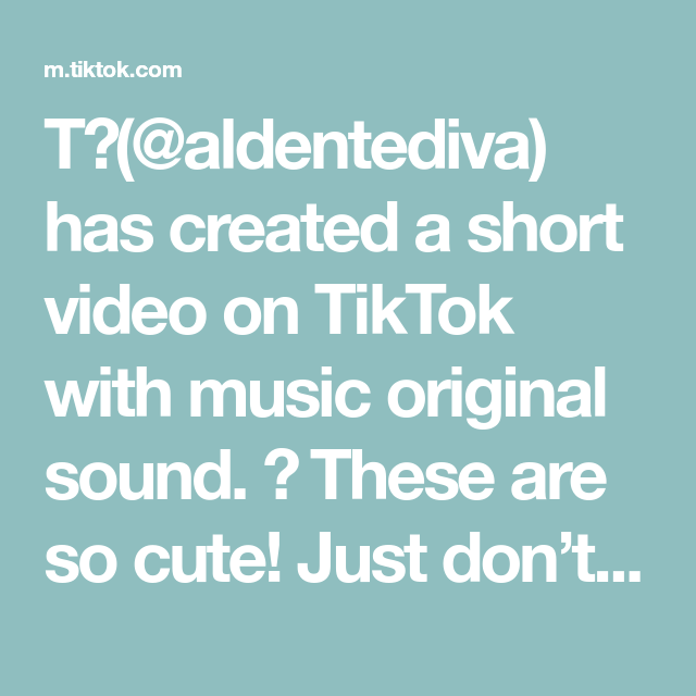 T Aldentediva Has Created A Short Video On Tiktok With Music Original Sound These Are So Cute Just Don T In 2020 Fun At Work New Things To Learn The Originals